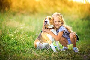 beagle and girl